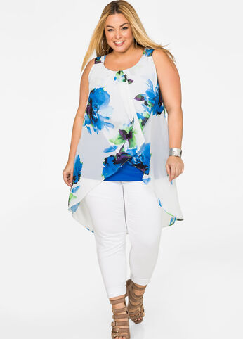 Watercolor Floral Overlay Tank