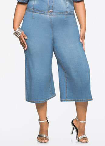 Light Wash Cropped Jean Gaucho