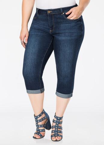5-Pocket Rolled Cuff Capri Jean Indigo - Jeans