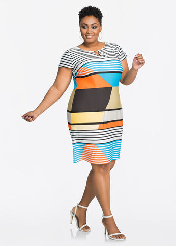 Mod Stripe Bar Neck Sheath Dress