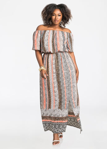 Tribal Print Striped Maxi Dress
