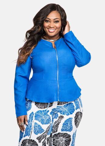 Zip Front Peplum Linen Jacket