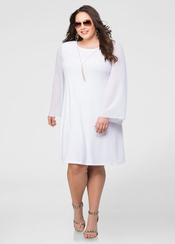 Bell Sleeve Necklace Dress