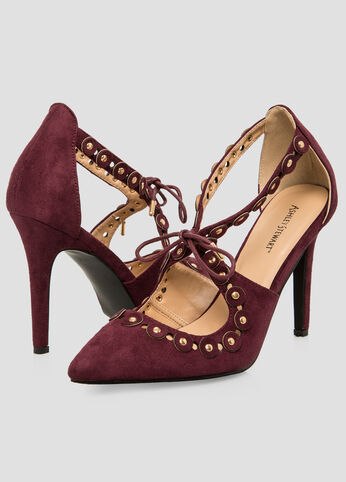 Cut-Out Pointy Toe Pump - Wide Width Plum Purple - Clearance