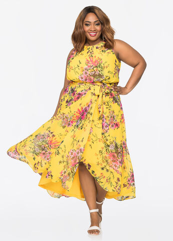 Floral Hi-Lo Midi Dress Dandelion - Dresses