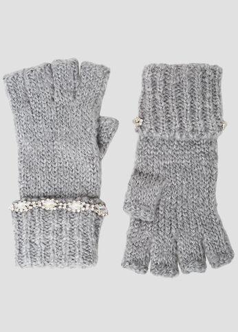 Rhinestone Embellished Knit Gloves