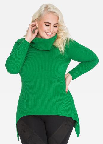 Cowl Neck Sharkbite Sweater
