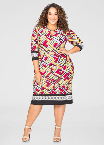 Geo Gold Bar Shift Dress