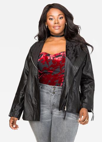 Mixed Media Faux Leather Moto Jacket