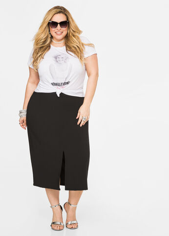 Double Slit Crepe Skirt Black - Bottoms