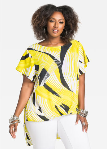 Geo Print Hi-Lo Bubble Top with Flutter Sleeves Mandalay Lime - Tops