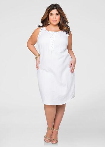 Grommet Lace-Up Linen Dress