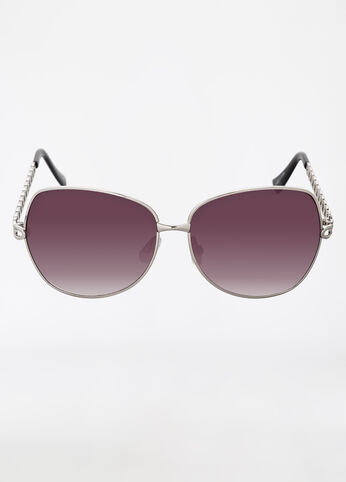 Square Frame Sunglasses with Chain Link
