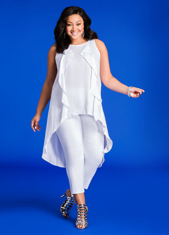 Hi-Lo Blouse with Ruffle Front White - Tops