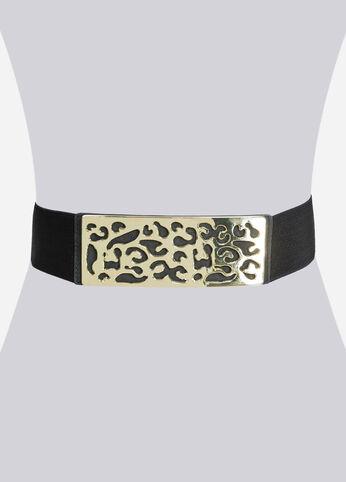 Filigree Metal Buckle Stretch Belt