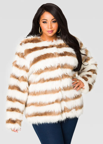 Striped Fur Jacket