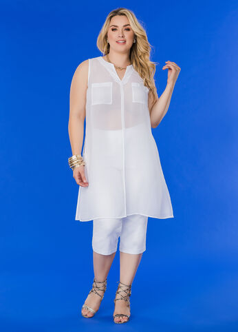 Solid Sheer Slit Front Tunic Top