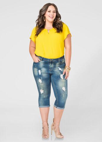 Vanilla Tint Cuffed Capri Jeans