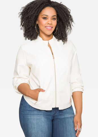 Faux Leather Jacket White - Outerwear