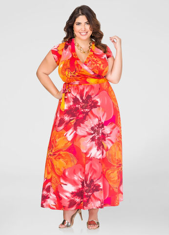 Hibiscus Surplice Maxi Dress