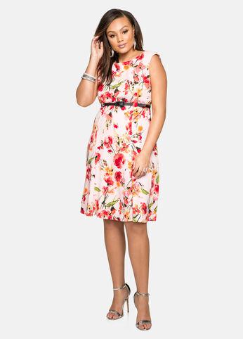Belted Textured Floral Dress