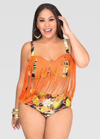 Tropical Fringe Underwire Bra Bikini Top