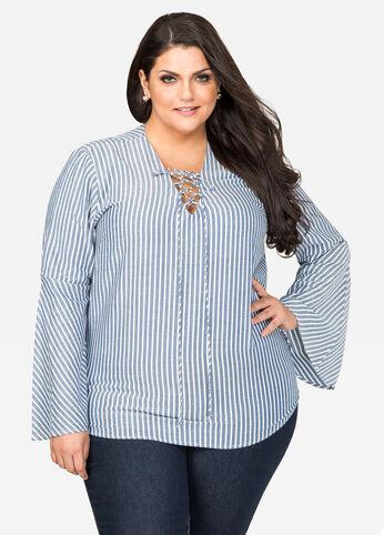 Striped Lace-Up Chambray Shirt