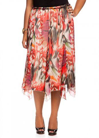 Abstract Tropical Print Skirt