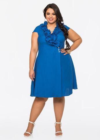 Ruffle Front Linen Wrap Dress Victoria Blue - Clearance