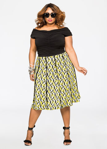 Geo Panel Flare Skirt Multi - Bottoms