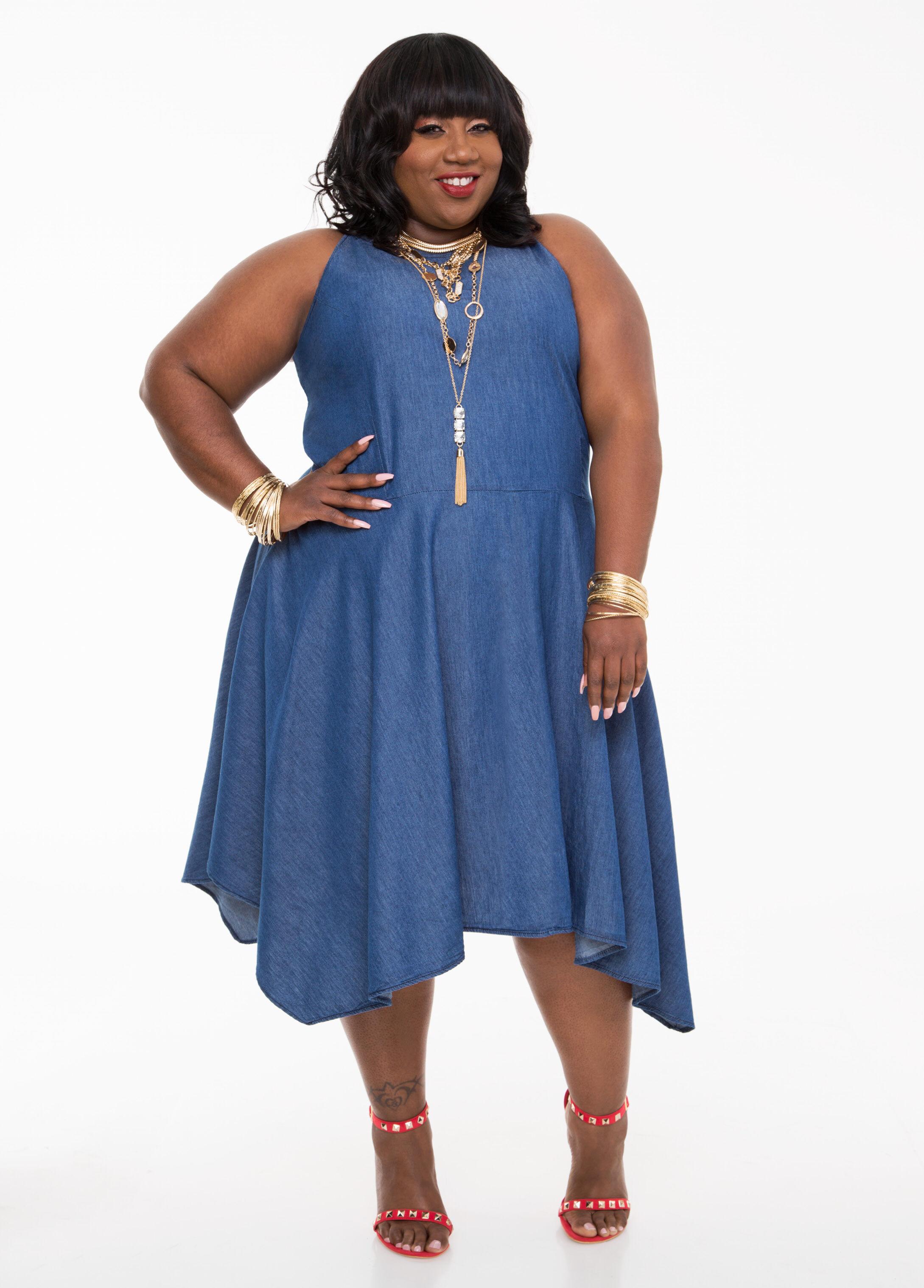 Hanky Hem Denim Dress-Plus Size Dresses-Ashley Stewart-010-PA4387X