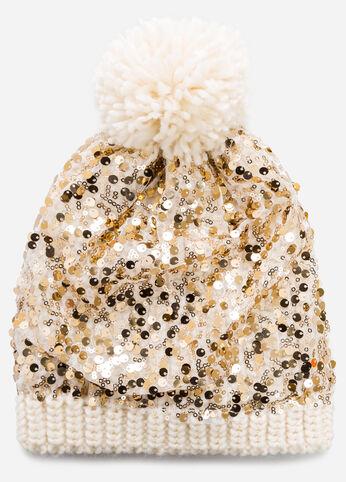 Sequin Pom Beanie Hat