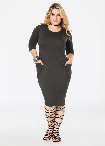 Deep Drape Pocket Midi Dress