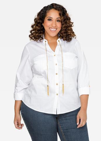 Chain Tassel Button Shirt