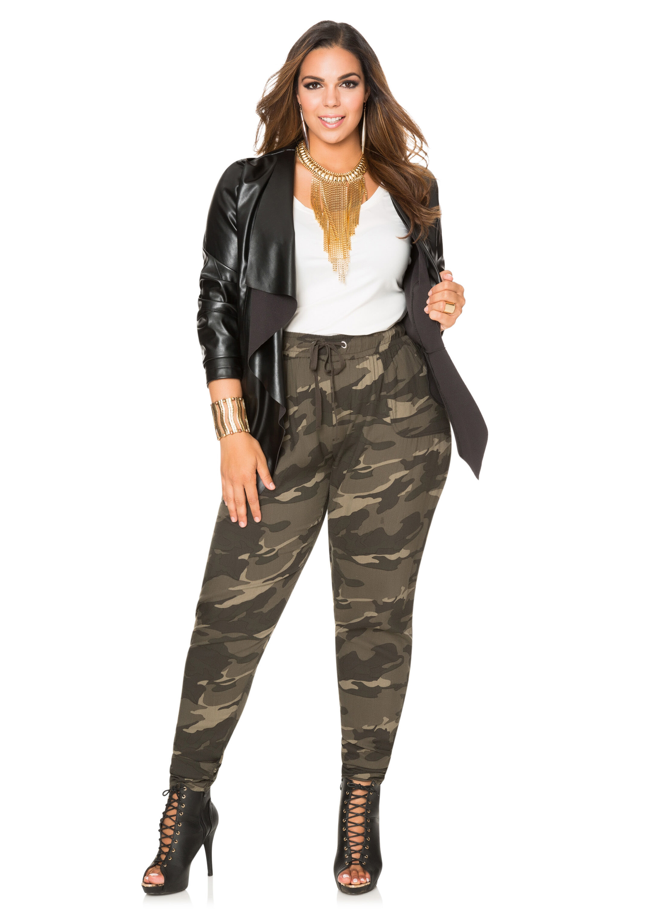 Ruched Camo Print Pant-Plus Size Pants-Ashley Stewart