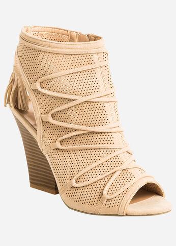 Perforated Lace-Up Vamp Cutout Block Heel