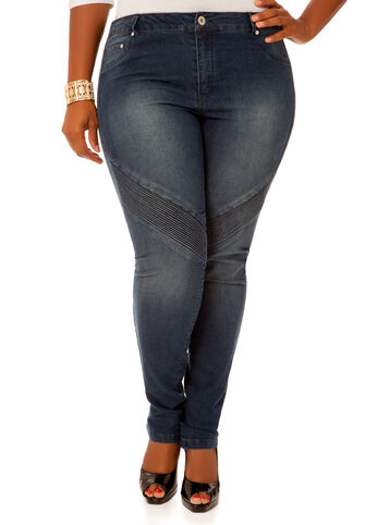 Ripple Stitch Skinny Jeans