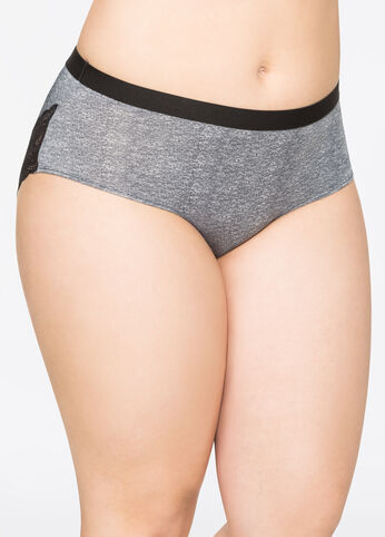 Lace Back Microfiber Tanga Panty Heather Grey - Intimates
