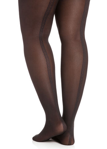 Tights with Ribbed Back Seam