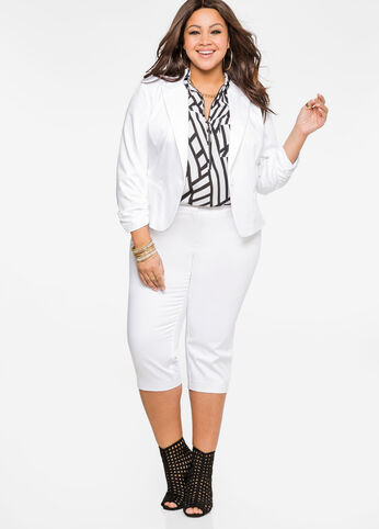 Cropped Sateen Trousers White - Clearance