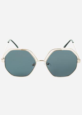 Hexagon Shape Cutout Frame Sunglasses