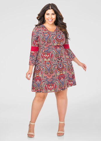 Crochet Bell Sleeve Paisley Dress