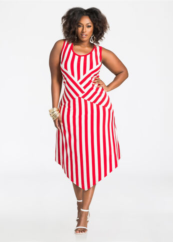 Striped Pointed Hem Dress
