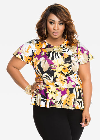 Tropical Print Short Sleeve Peplum Top