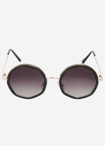 Contrast Round Sunglasses Black - Accessories