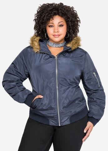 Hooded Fur Lined Bomber Jacket