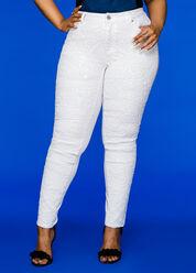 Swirl Sequin Front Skinny Jean