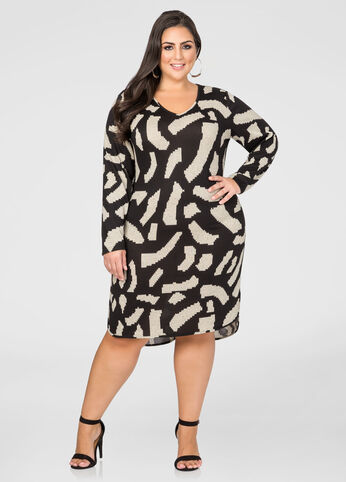 Abstract Hi-Lo Sweater Dress
