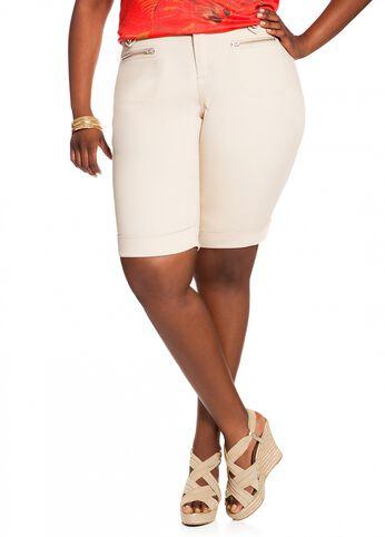 Cuffed Bermuda Twill Shorts