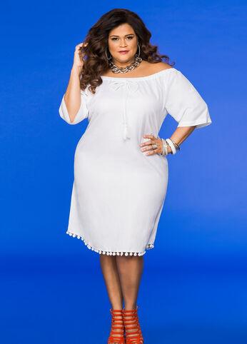 Off-Shoulder Linen Dress White - Dresses